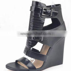 2015 Fashion latest wedge sandals genuine leather woman shoes with strap