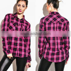 Lady Long Sleeve Checked Cotton Shirt