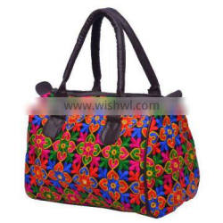 Short Handle Cotton Embroidered Bag