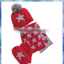 60% cotton 40% acrylic star knitted scarf gloves hat sets for kids