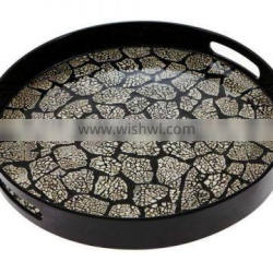High quality eggshell inlay round tray with handle from Vietnam