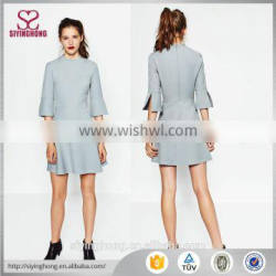 2016 new arrival autumn-winter sample design girls sweat flare one piece midi knitted dress