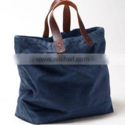 Custom high quality waxed canvas tote bag leather handle