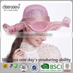 High Quality Pink Lady Sinamay Hat Wholesale Women Church Hat