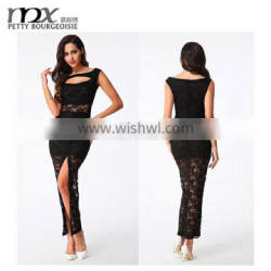 High quality sleeveless pencil women red slit lace pencil dress