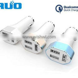 Aluminum Quick charge three ports car charger with QC3.0 /Type C/Smart IC function 40W output