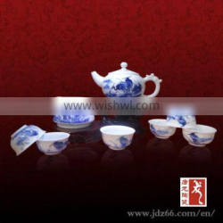 Delicate design blue and white porcelain hand painted jspanese green tea set for hot sale