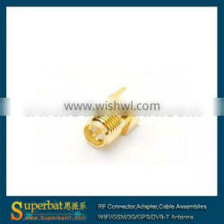 sma rf connector pcb RP-SMA thru hole Jack(male pin) PCB Mount with solder post for sma antenna