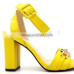 latest high heel slingback comfortable lady sandals with gold button