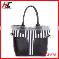 2014 new style max Joker stripe canvas tote shopping bag /reusable shoulder bag with iphone case