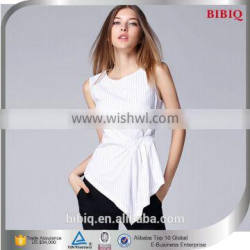High Quality White Stripe Cotton Sexy Office Lady Blouse Design