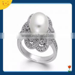 2015 newest wedding jewelry design sterling silver flower pearl ring