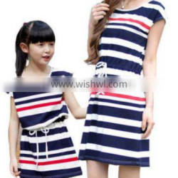 Walson walson Casual Family fitted Mother Daughter Dress O-neck Cotton Summer Striped Dresses