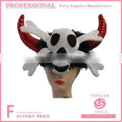 Skull decorated on the halloween hat with red flashing horn for festival favor