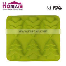 Silicone 6 holes green color Christmas' trees cake mould for Christmas party