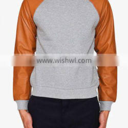Sweatshirts with Artificial leather sleeves
