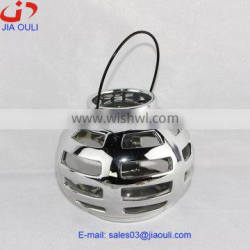 plating silver ceramic hollowed-out hurricane lamp home decoration, christmas lantern