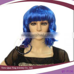 short curly synthetic dark blue cosplay wig