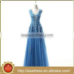 RASA-48 Real Sample Flower Appliqued Evening Party Gown Beaded Full Length Sleeveless Blue Prom Dress for Party