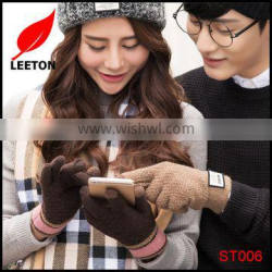 Factory supply fashion knitted touch screen winter glove for lady