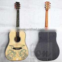 Weifang Rebon 41 inch All Solid wood D45 Acoustic Guitar with Real abalone dragon inlay