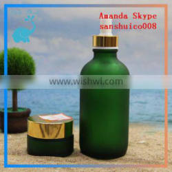 green body lotion bottle match with green glass jars