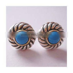 Gold Plated 925 Silver Turquoise Color Classics Earrings(E-023)