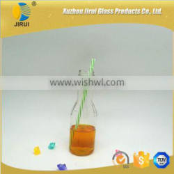 350ml hot sale glass juice beverage bottle with straw
