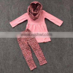 2016 fashion 3 pieces New arrival pink leopard scarf set girls baby kids wear baby suit hot sell boutique set