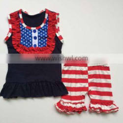 Hot sale boutique girl clothing high quality 4th of july girls outfits fashion style baby patriotic clothes set