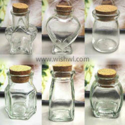 Mini glass favor jars with cork for snacks or souvenirs