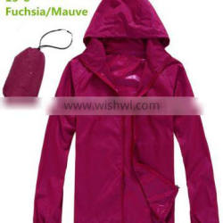 Rose Red Lightweight Hooded Pullover RED Windbreaker Jacket with bag