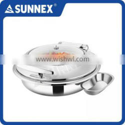 Sunnex Professional Stylish Highly Polished Stainless Steel Round 6.8 ltr / 7.1 U.S. Qt Induction Chafing Dish