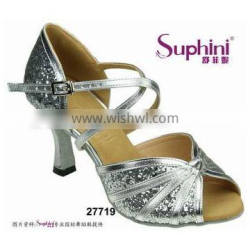 Suphini Silver Glitter Girl Dance Shoes for Latin Salsa