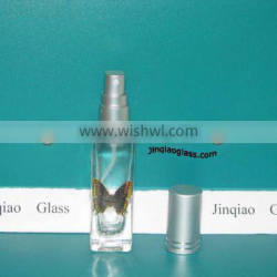 square type glass perfume bottle with decal logo
