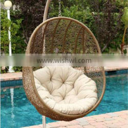 Hot Sale Wicker Rattan Swing chair - PVC rattan hanging egg chair (Steel frame with power coated, waterproof fabric hand woven)