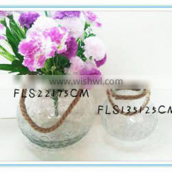 2016 Popular clear different sizes glass candle holder with rope handle