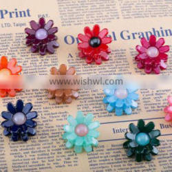 Colorful beaded hair claw plastic kids solid color hair claw daisy decoration hair claw clip
