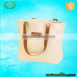 reusable canvas tote bag leather handle
