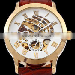 Vintage Gold Stainless Steel Case Mens Hollow Skeleton Leather Automatic Mechanical Wrist Watch