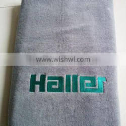 Custom color plain dyed satin board bath towels with logo embroidery