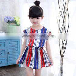 China Factory Korean Girls Lovely Cotton Colorful Stripes Children Dress with Short Sleeves