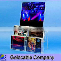 acrylic cd holder display with sign holder
