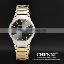 Super best hot sale new calendar watch , gold plated 5ATM waterproof gold double date watch for couples