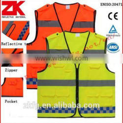 cheap 120g warp knitting fabric motorcycle reflective vest with pockets