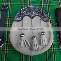 Full Dress Bowin Skin Sporran With Celtic Design Cantle Made Of Leather Material