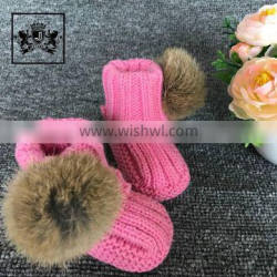 2017 High Quality Dress Shoes Plush Baby Booties With Rabbit Fur Ball