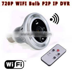 LED E27 Base Bulb and Hidden VGA Night Vision Camera with IR Back Light, Motion Detection Feature and Free APP