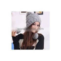 Girl's winter warm knitted hat custom new fashion earflap knitted hat