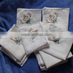embroidery linen handkerchief with piping hem
